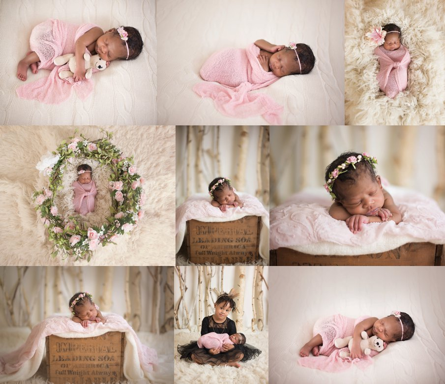 beautiful african american newborn baby girl studio photos in pink and cream