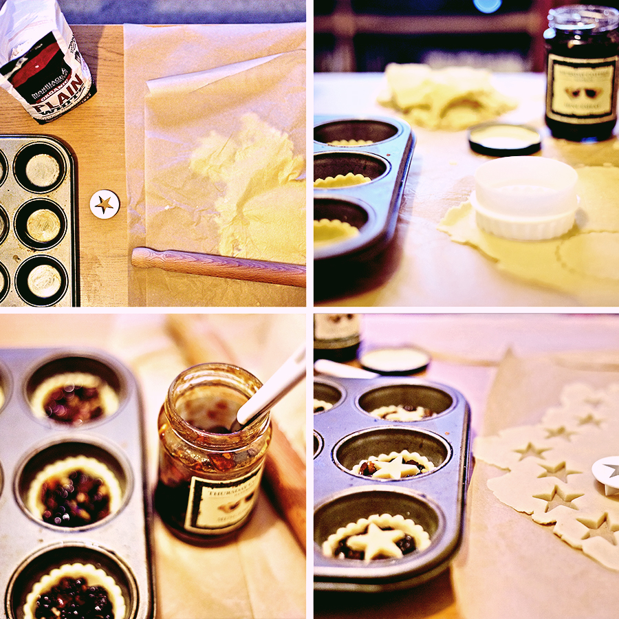 Montage of pictures showing Mince Pie Making Method