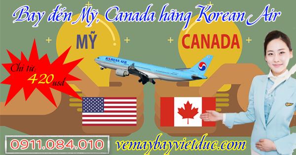 vé khuyến mãi 1 chiều hãng Korean Air đi Mỹ, Canada