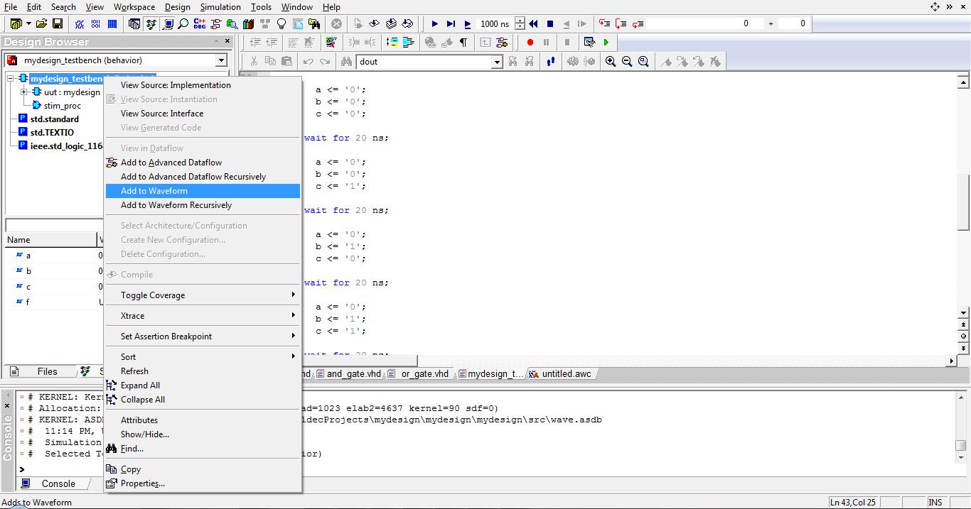adding waveform in active hdl