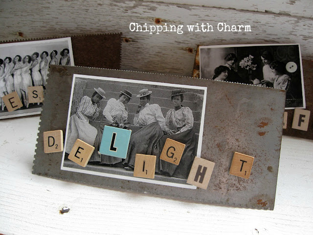 Chipping with Charm: Repurposed Trowel Photo Holders...www.chippingwithcharm.blogspot.com