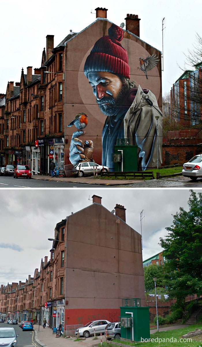 10+ Incredible Before & After Street Art Transformations That'll Make You Say Wow - Photorealistic Mural, Glasgow, Scotland
