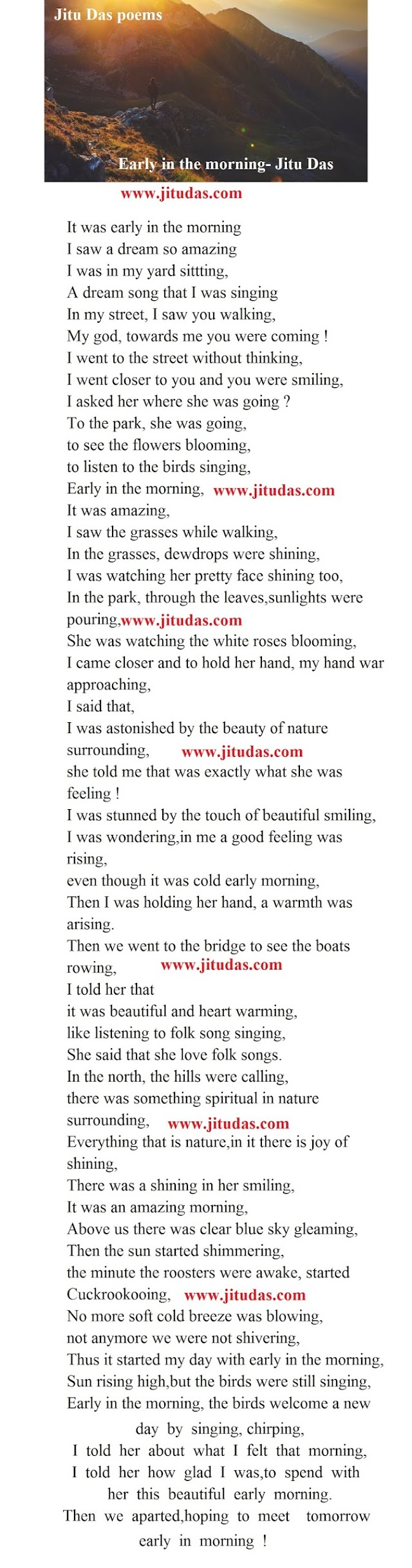 Deep life poem, Early in the morning by Jitu Das english poems