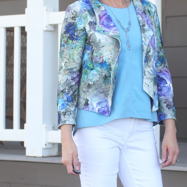 Grainline Studio's Morris Blazer made with Style Maker Fabrics' Watercolor Crepe Knit with Hadley top in blue modal shirting