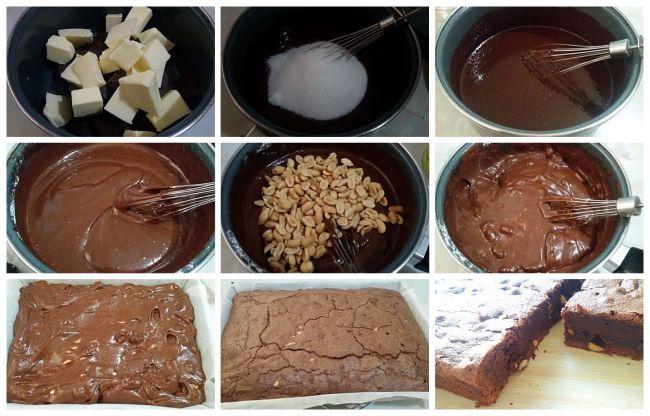 Preparación del brownie de cacahuete