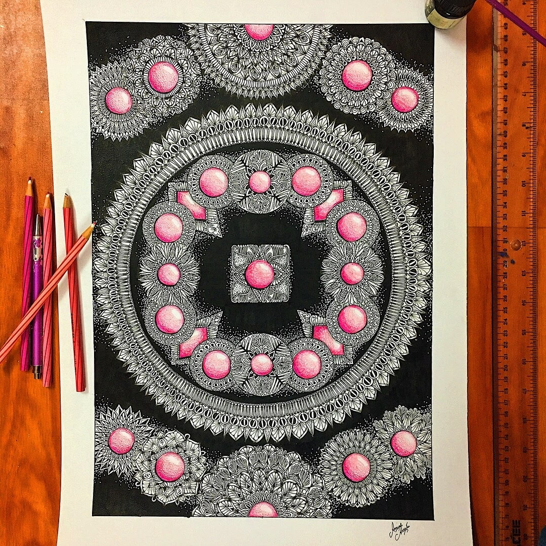 01-Ink-and-Colored-Pencils-Aiman-Arastu-Mandalas-Drawings-and-More-Art-www-designstack-co