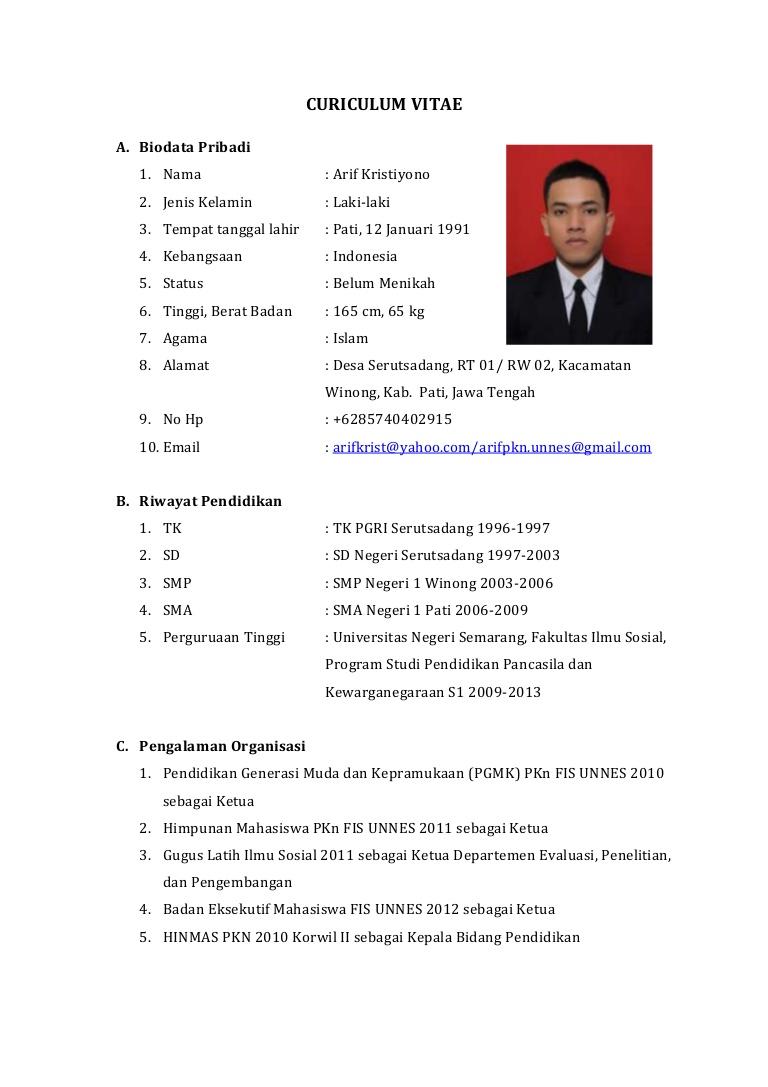 Contoh Curriculum Vitae Bahasa Indonesia 2013 Cv Nabila