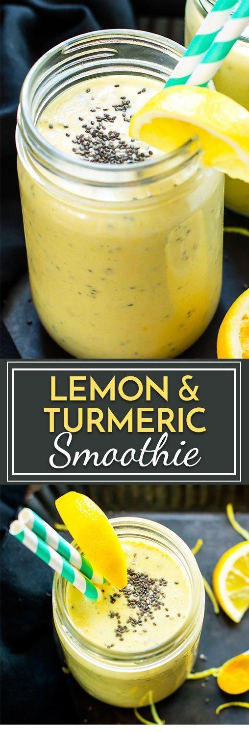 Lemon Turmeric Smoothie With Chia Seeds