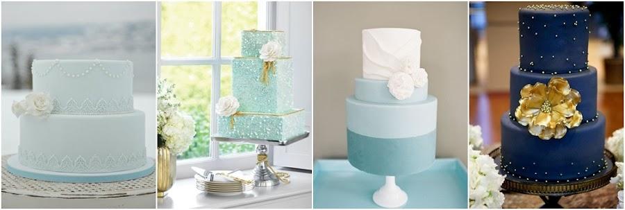 Tartas de fondant azul para bodas