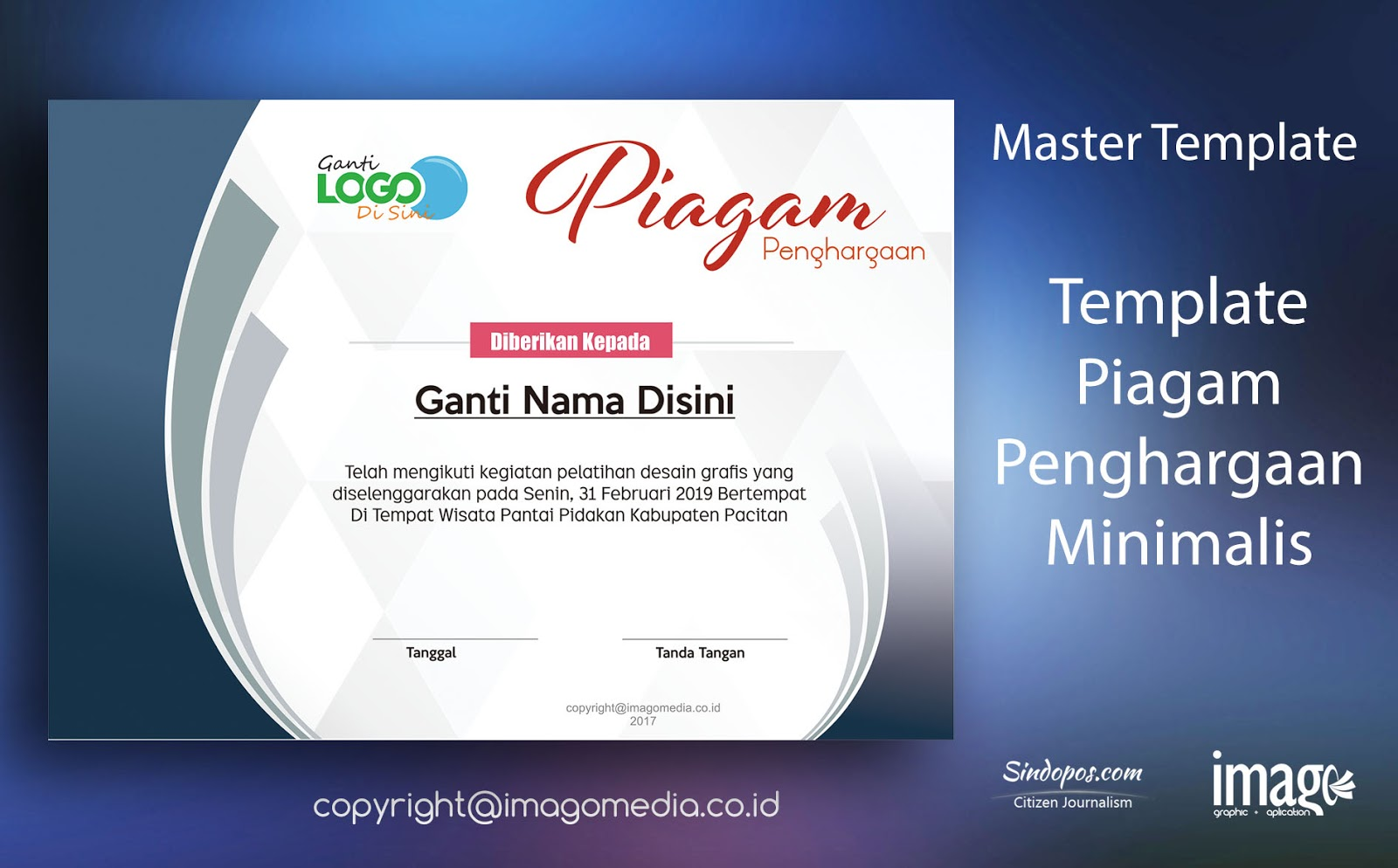 Download Contoh Piagam Penghargaan Lomba Keren Minimalis Imago Media Home Of Creativity