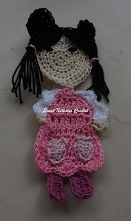 Cute crochet doll motif or applique pattern