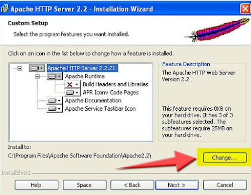 ubah folder install apache