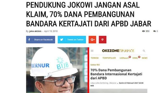 """Meluruskan Berita """"70% Dana Pembangunan Kertajati dari APBD Jabar"""""""