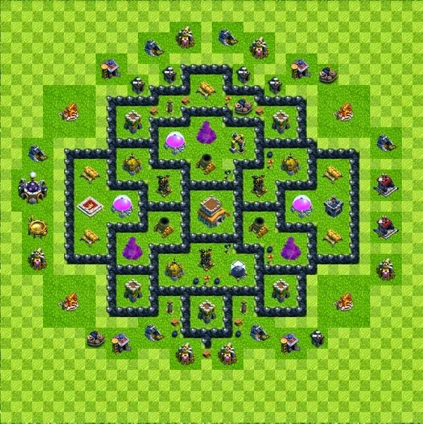Tipe Defense Base Layout Town Hall Level 8 Clash of Clans ...