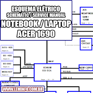 Esquema Elétrico Notebook Laptop Acer Aspire 1690 Manual de Serviço  Service Manual schematic Diagram Notebook Acer Aspire 1690    Esquematico Notebook Acer Aspire 1690