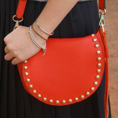 Away From The Blue | Rebecca Minkoff unlined saddle bag in cherry red