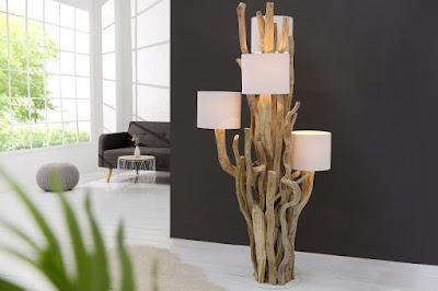 drevena dizajnova lampa.