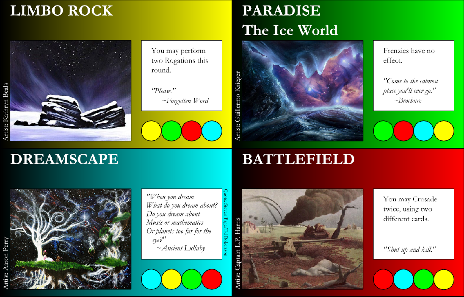 Limbo Rock, Paradise, Dreamscape, Battlefield