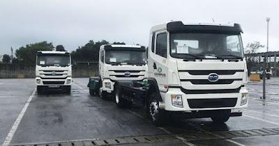 Chega ao Brasil primeiro lote de caminhões 100% elétricos BYD