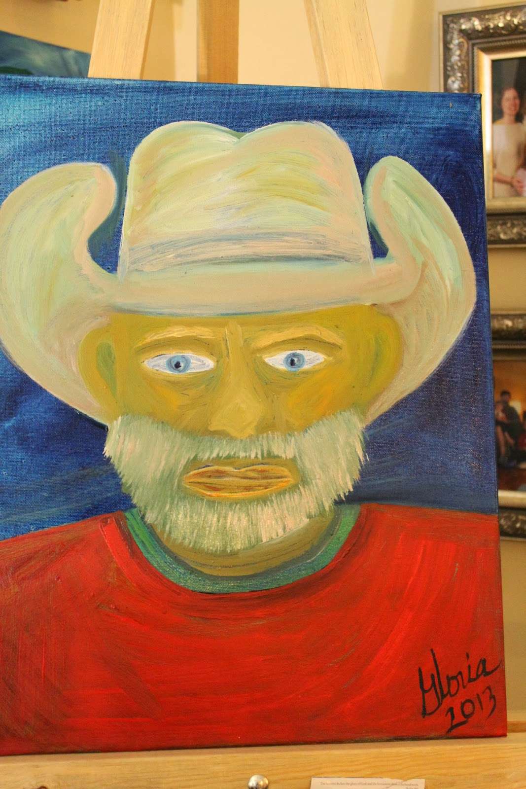 """American Rancher"" ethnic series oil painting by Gloria Poole of Missouri & Georgia; yr 2013"