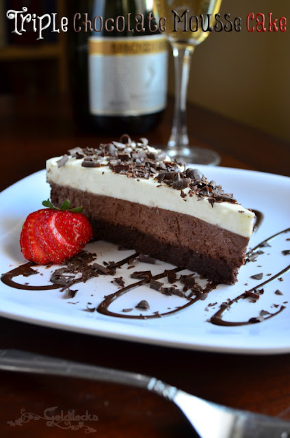 This recipe for Triple Chocolate Mousse cake is created with a base layer of dark chocolate mousse cake, followed by layers of rich milk chocolate and white chocolate mousse. A decadent indulgence :0)