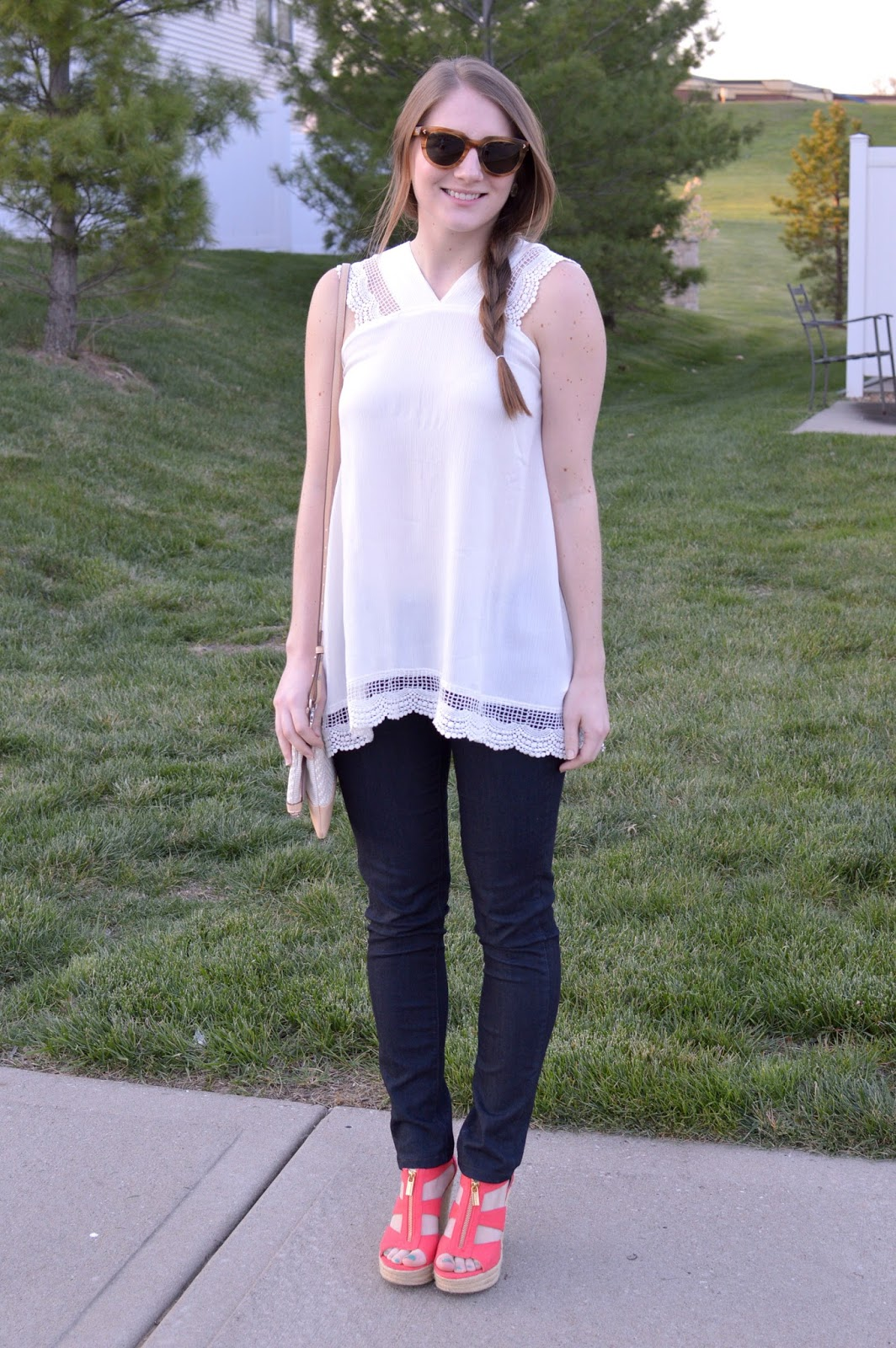 cute outfits for spring with a white top | stella and dot sunglasses | a memory of us | kansas city fashion blog | white tops for spring | what to wear this spring