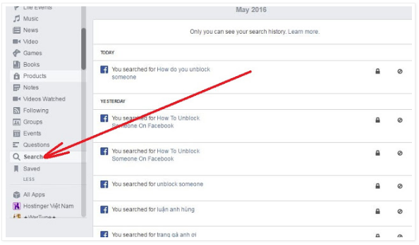 Delete activity log facebook 2018 arrow paksl here is your history browse if you desire erase all click clear searches ccuart Choice Image