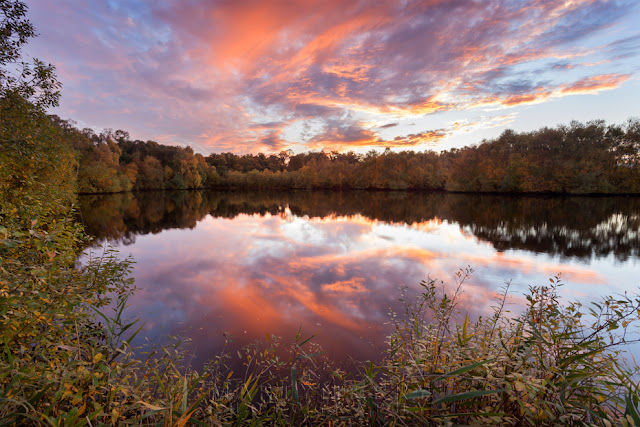 Lake ringed by trees in autumn under a fiery sunset sky at Holme Fen
