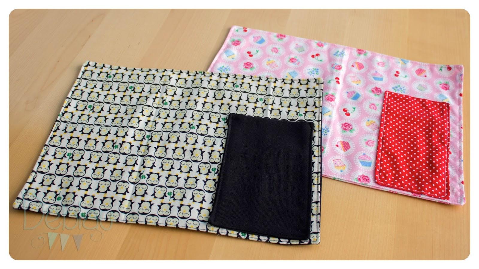 Deblau costura manteles individuales con bolsillo for Manteles de tela