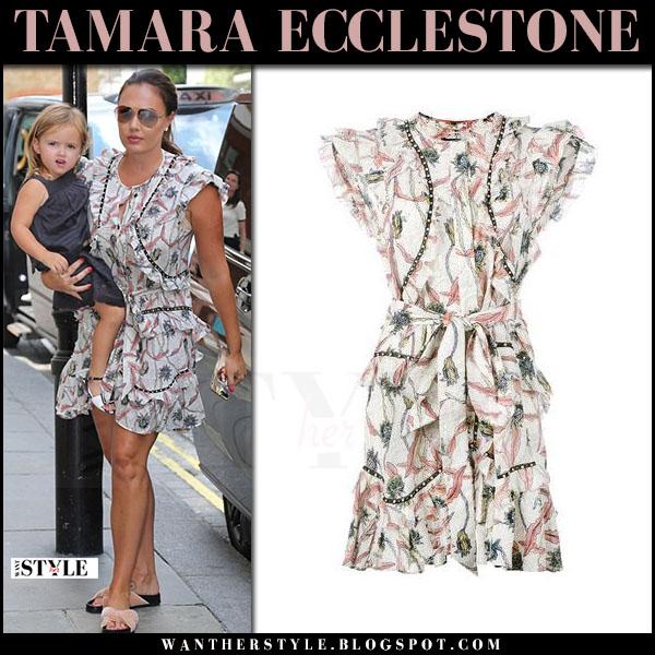 Tamara Ecclestone in floral print mini dress isabel marant unity what she wore june 18 2017