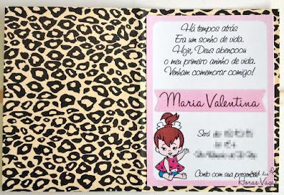 convite aniversário infantil pedrita bebê oncinha bege marrom rosa menina
