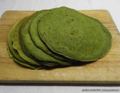 comida saludable,cocina naturista,panqueques verdes,integrales,crepes sanos