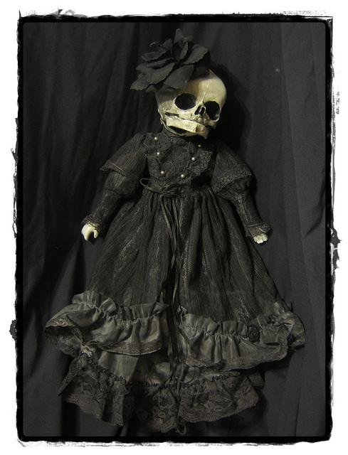 boneca,pano,caveira,preto,gotico,art