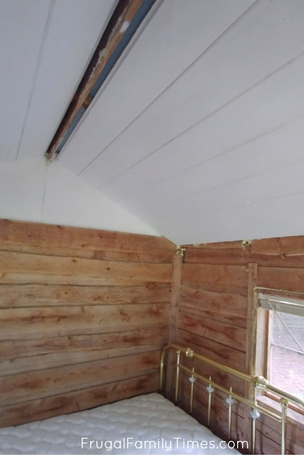 shiplap ceiling finished faux beam next