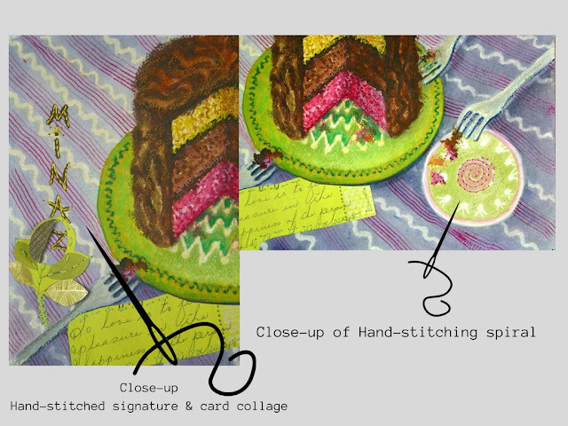 Hand-stitching on signature and spiral on the plate.  A card with handwritten words is also collaged with hand-stitching.