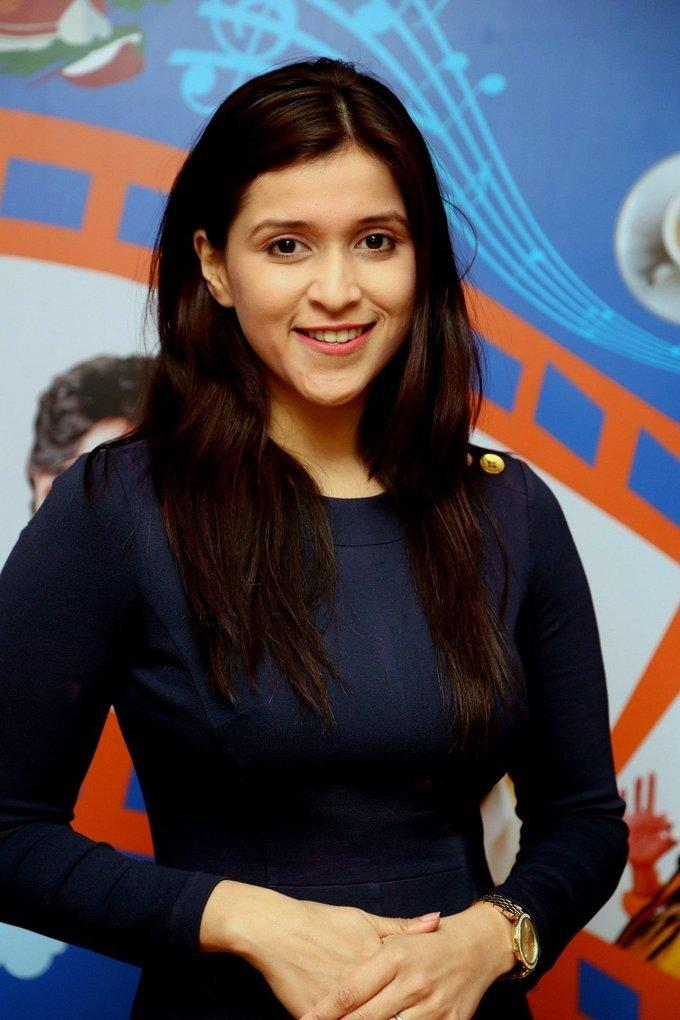 Actress Mannara Chopra Stills At Radio City In Blue Dress