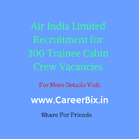 Air India Limited Recruitment for 300 Trainee Cabin Crew Vacancies