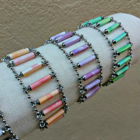 Pastel paper bead and stainless steel bracelets