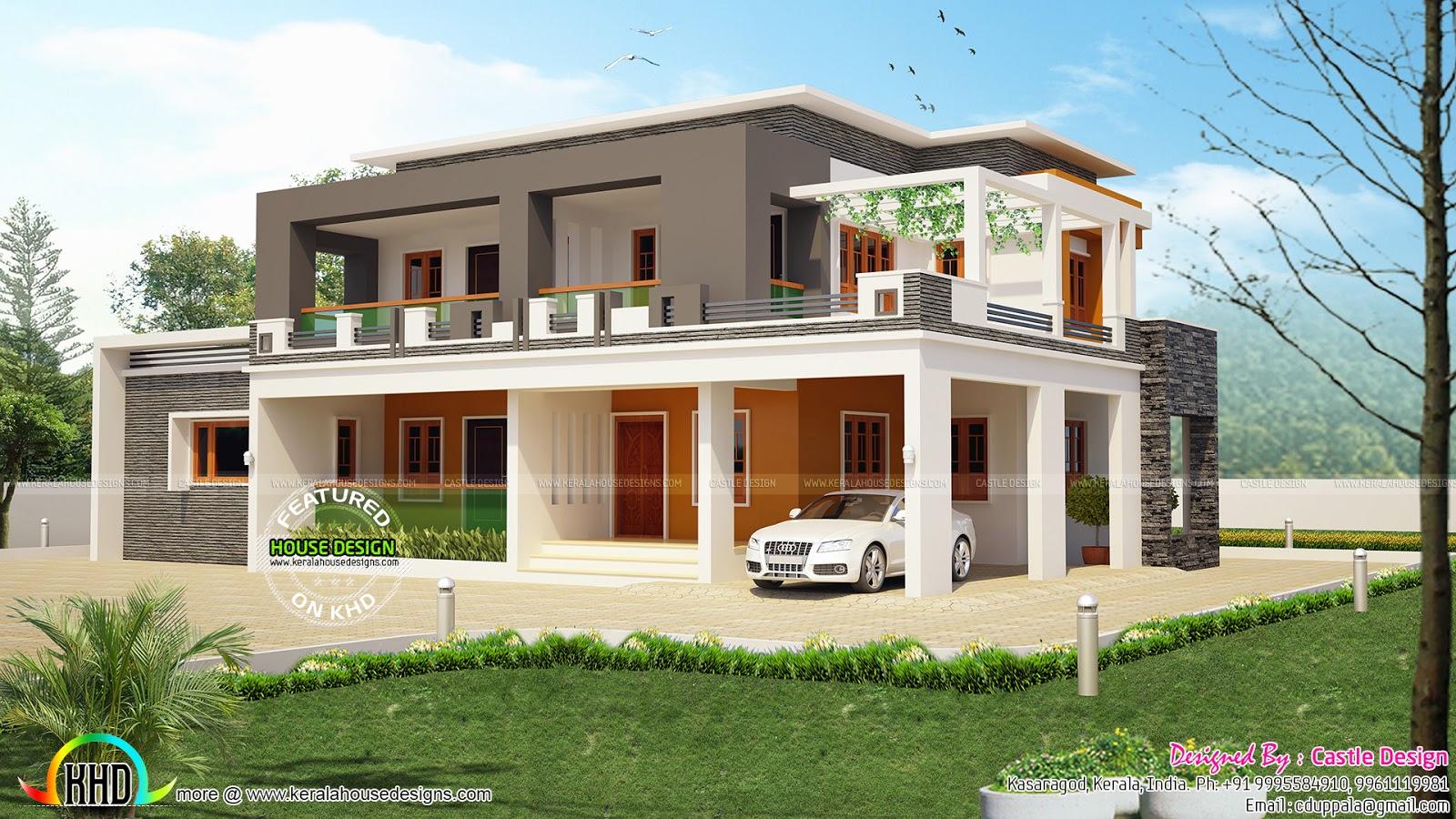 3201 square feet box type flat roof home | kerala home design