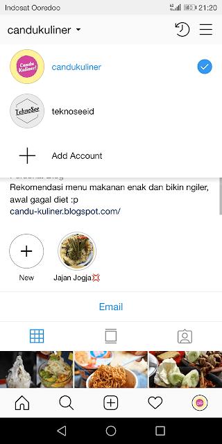 berhasil login ke akun instagram baru tanpa perlu logout terlebih dulu