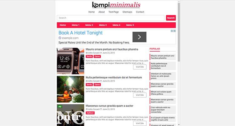 Premium Blogger Template (HTML5 And AMP HTML) - Kompi Minimalis