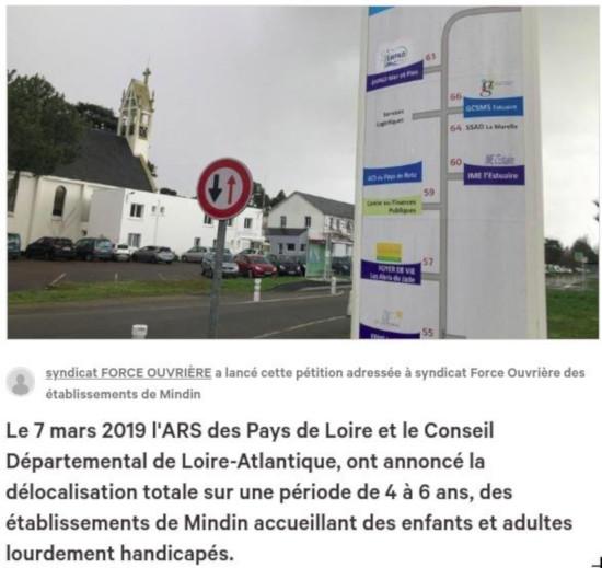 NON À L'ÉCLATEMENT DES ÉTABLISSEMENTS DE MINDIN ACCUEILLANT ENFANTS ET ADULTES HANDICAPÉS