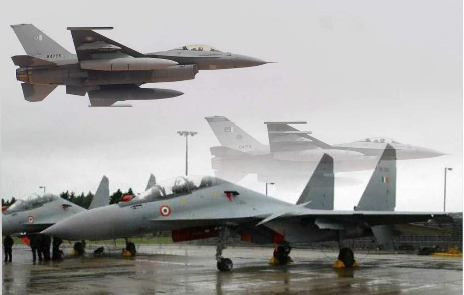 Su-30 dan F-16 terlibat dalam formasi pertempuran udara antara India dan Pakistan