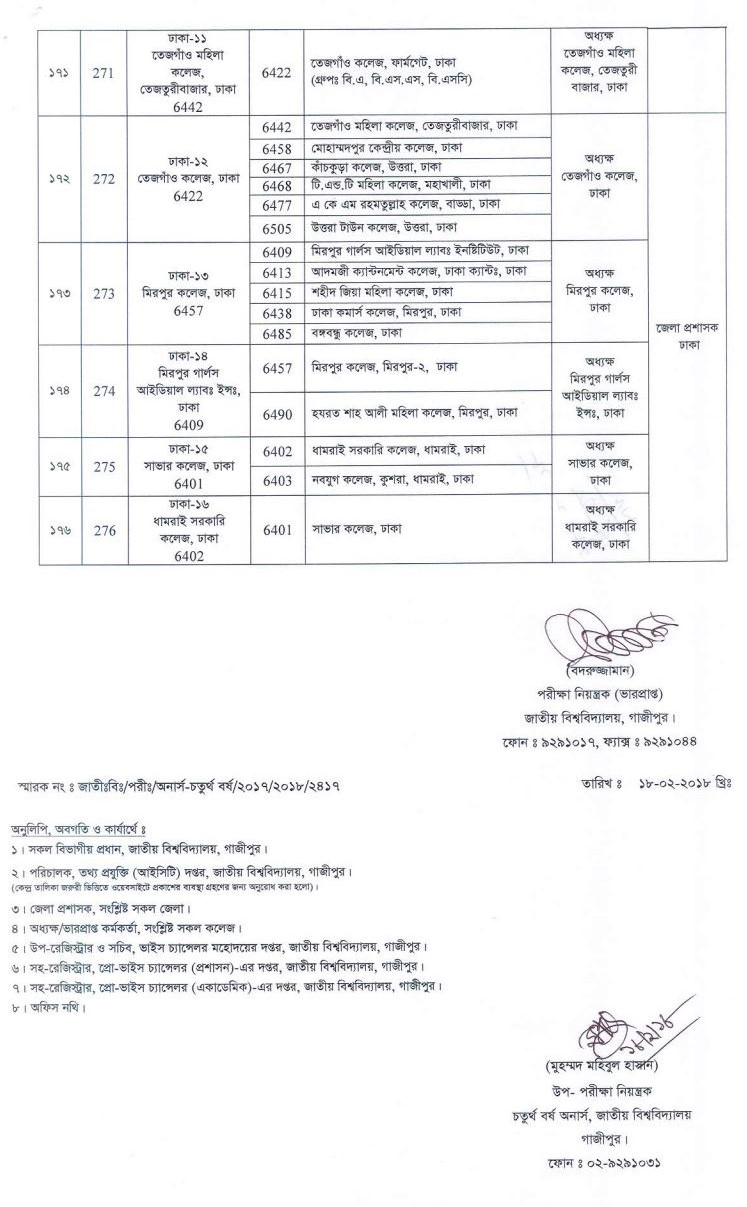 Honours 4th Year Center list (Revised) under the National University Bangladesh. We are always updating National University Notice of Bangladesh.