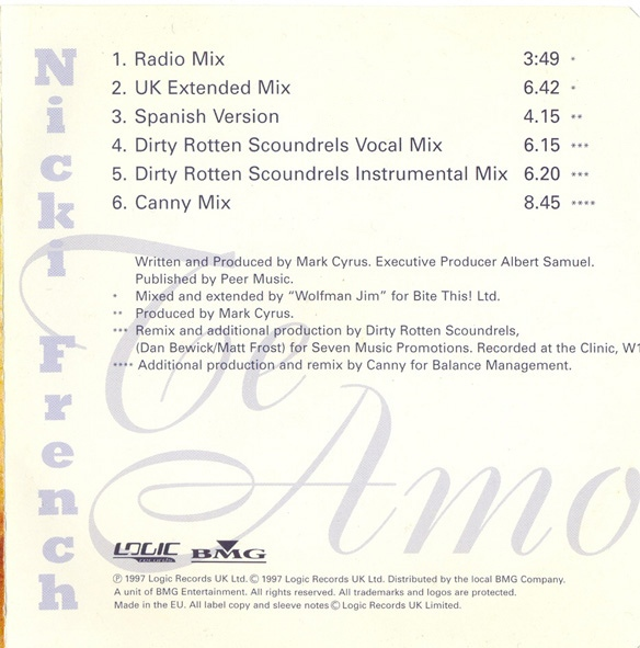 Euro Singles 90 : Nicki French – Te Amo (74321 50790 2)