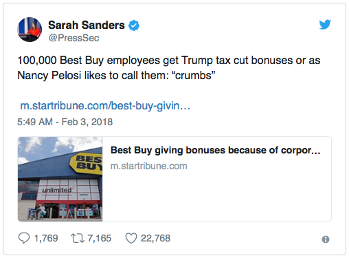 Sarah Sanders Takes A Chainsaw To Pelosi's 'Crumbs' Comment After Tax Cut Bonuses