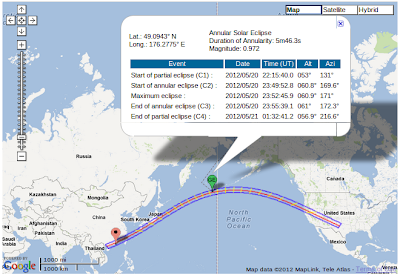 the path of the Annular Solar Eclipse of 2012 May 20