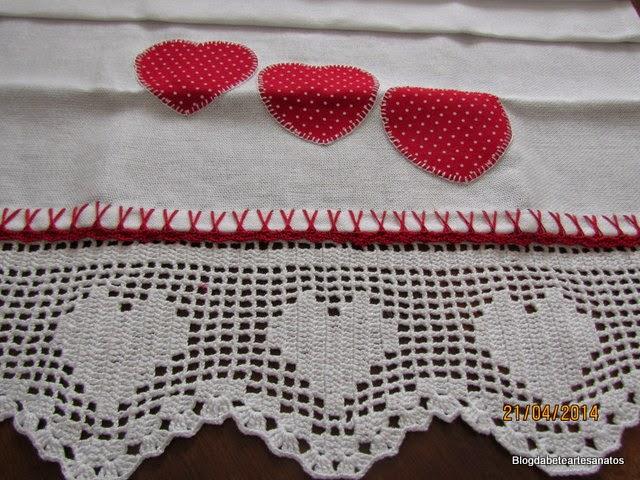 Patch Aplique Coração, Barrado em Crochê. Crochê