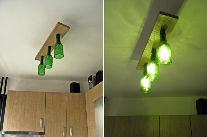 lampa z butelek po piwie DIY | levelupstudio