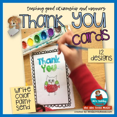 teaching resources, MrsQuimbyReads, thank you cards